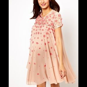 ASOS Maternity Swing Dress with Floral Applique M